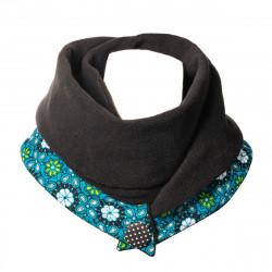 Echarpe polaire femme coton noire et bleue