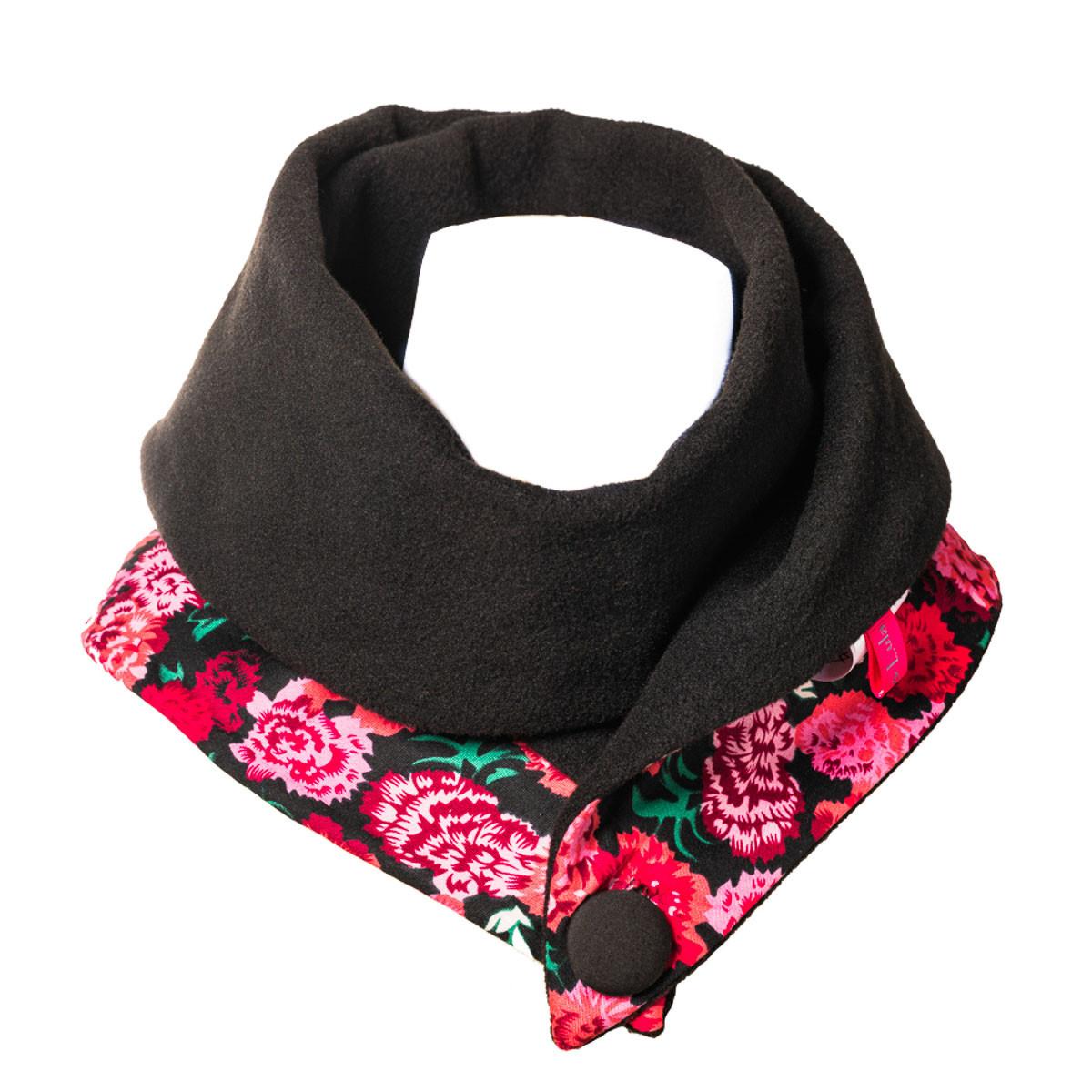 Echarpe polaire femme coton noire et fleurs roses