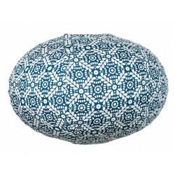 Lampion tissu boule japonaise ovale bleu et blanc