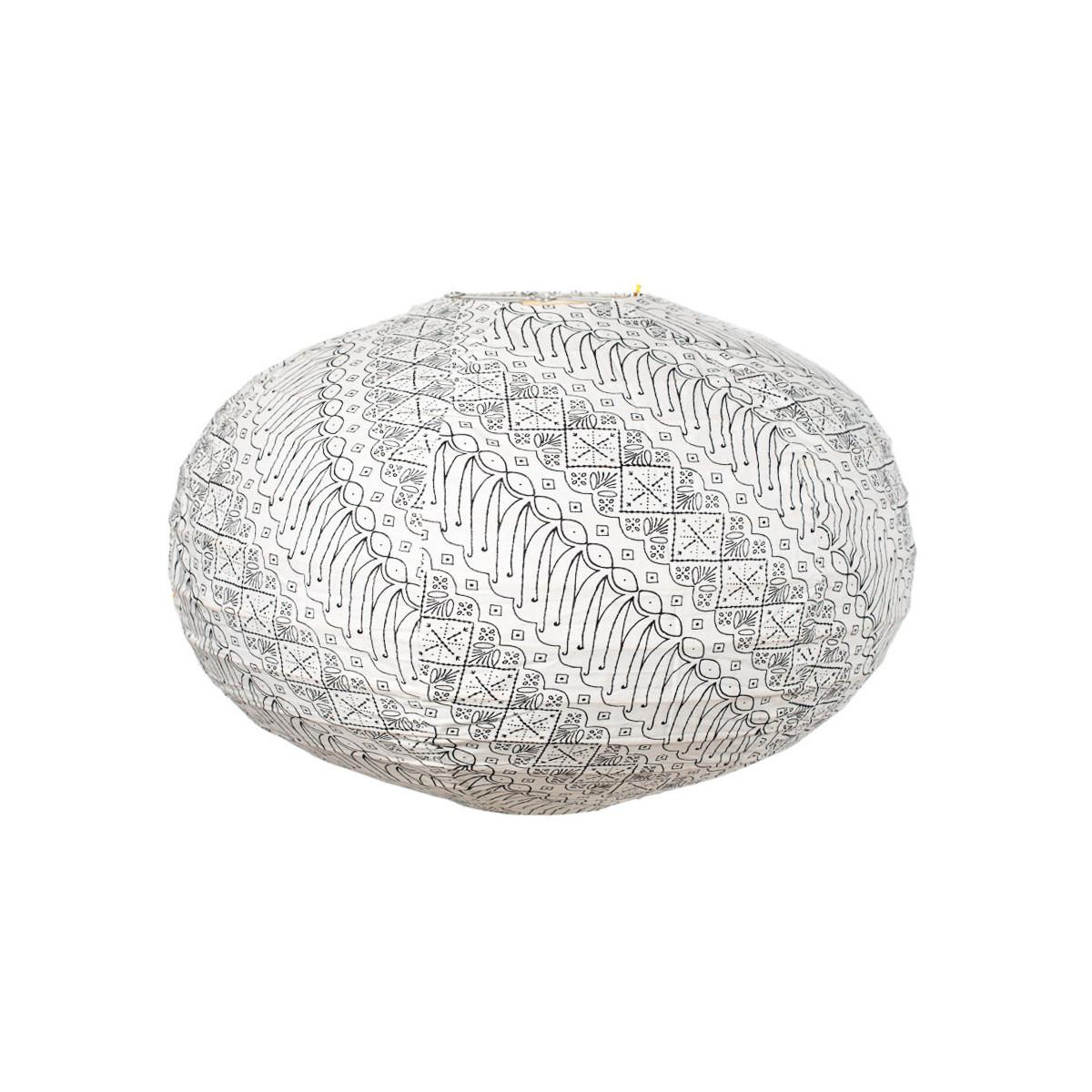 Lampion tissu boule japonaise ovale blanc et noir