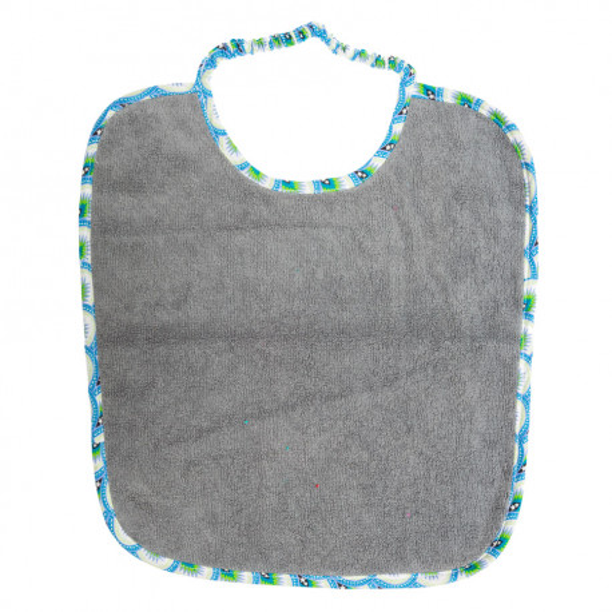 Bavoir col élastique gris et bleu