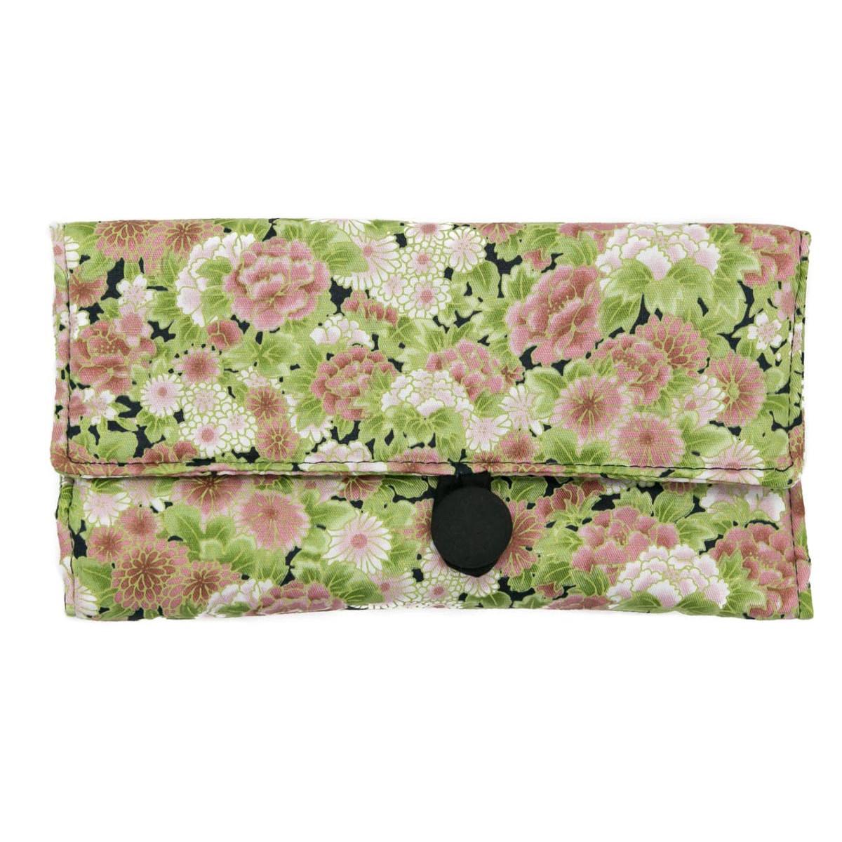 Trousse à bijoux de voyage fleurs vieux rose et vert pastel