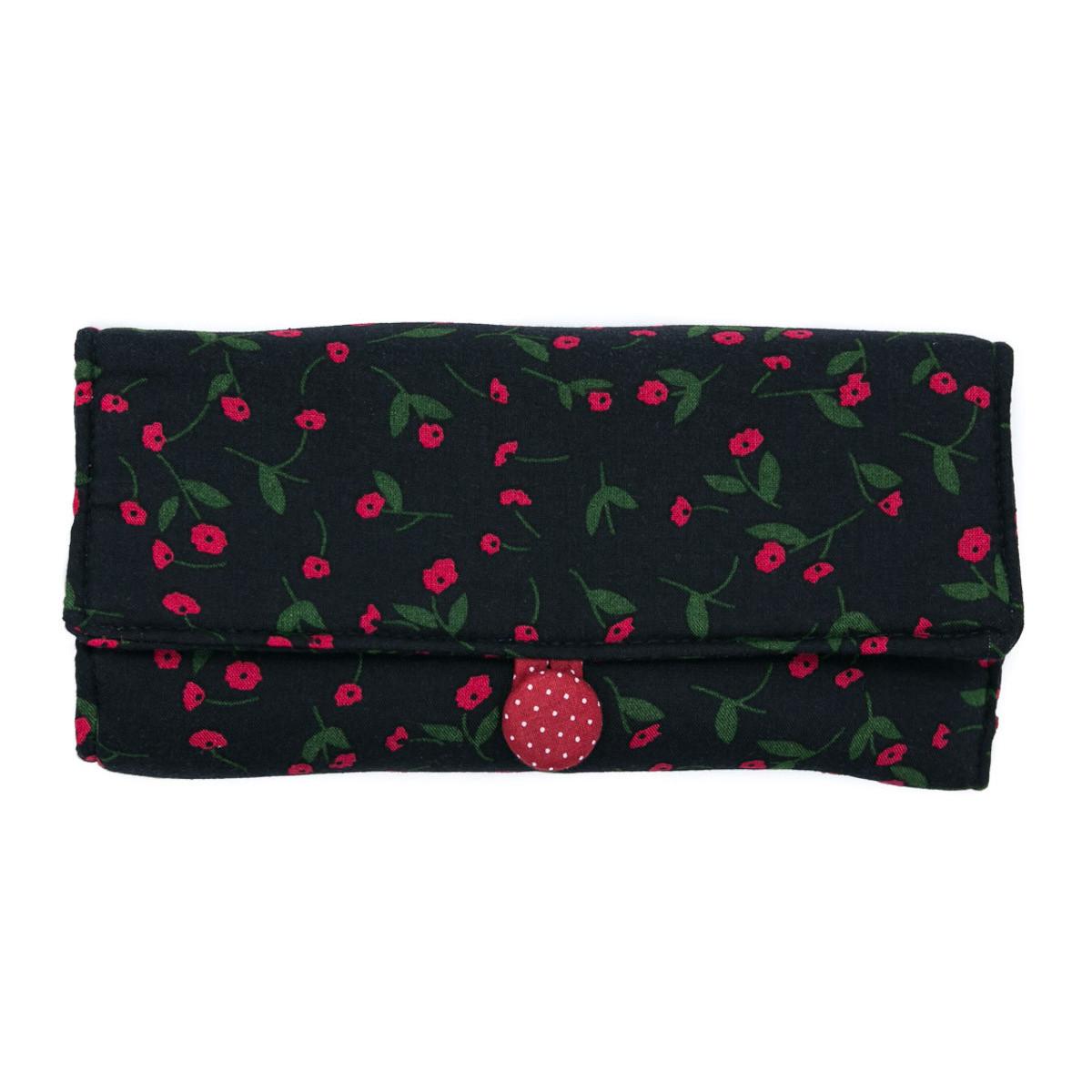 Trousse à bijoux de voyage noire et petites fleurs rouges