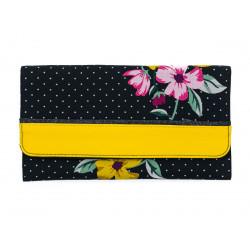 Portefeuille compagnon tout-en-un original noir et fleurs