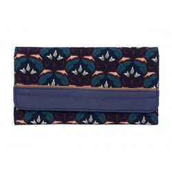 Portefeuille compagnon tout-en-un original bleu marine et fleurs