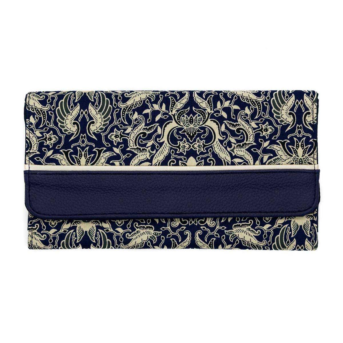 Portefeuille compagnon tout-en-un original bleu avec motifs