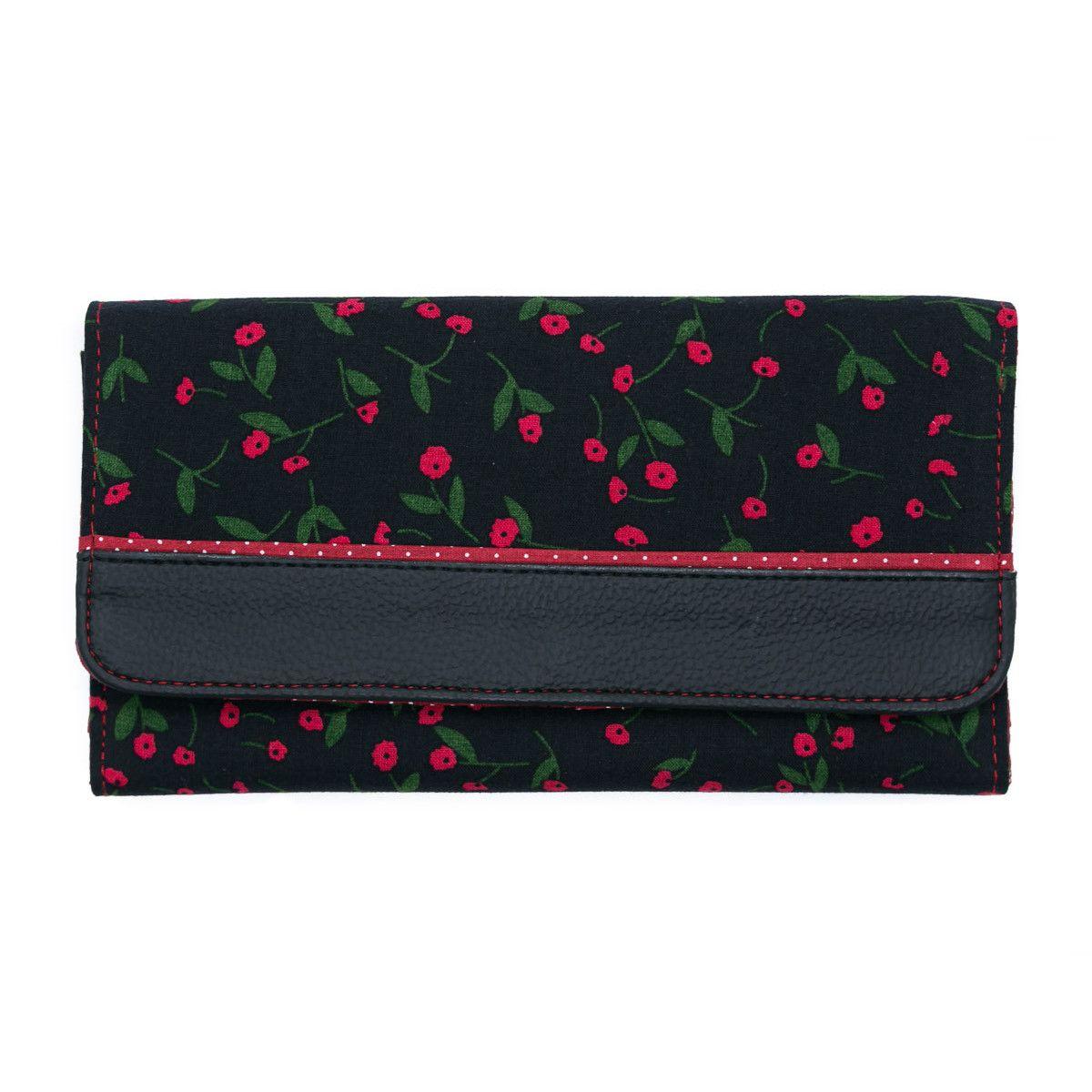 Portefeuille compagnon tout-en-un original noir et rouge à petites fleurs