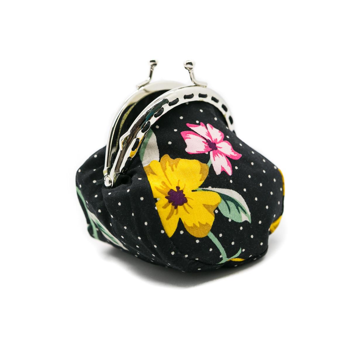 Petit porte-monnaie bourse à clip rétro noir à fleurs colorées