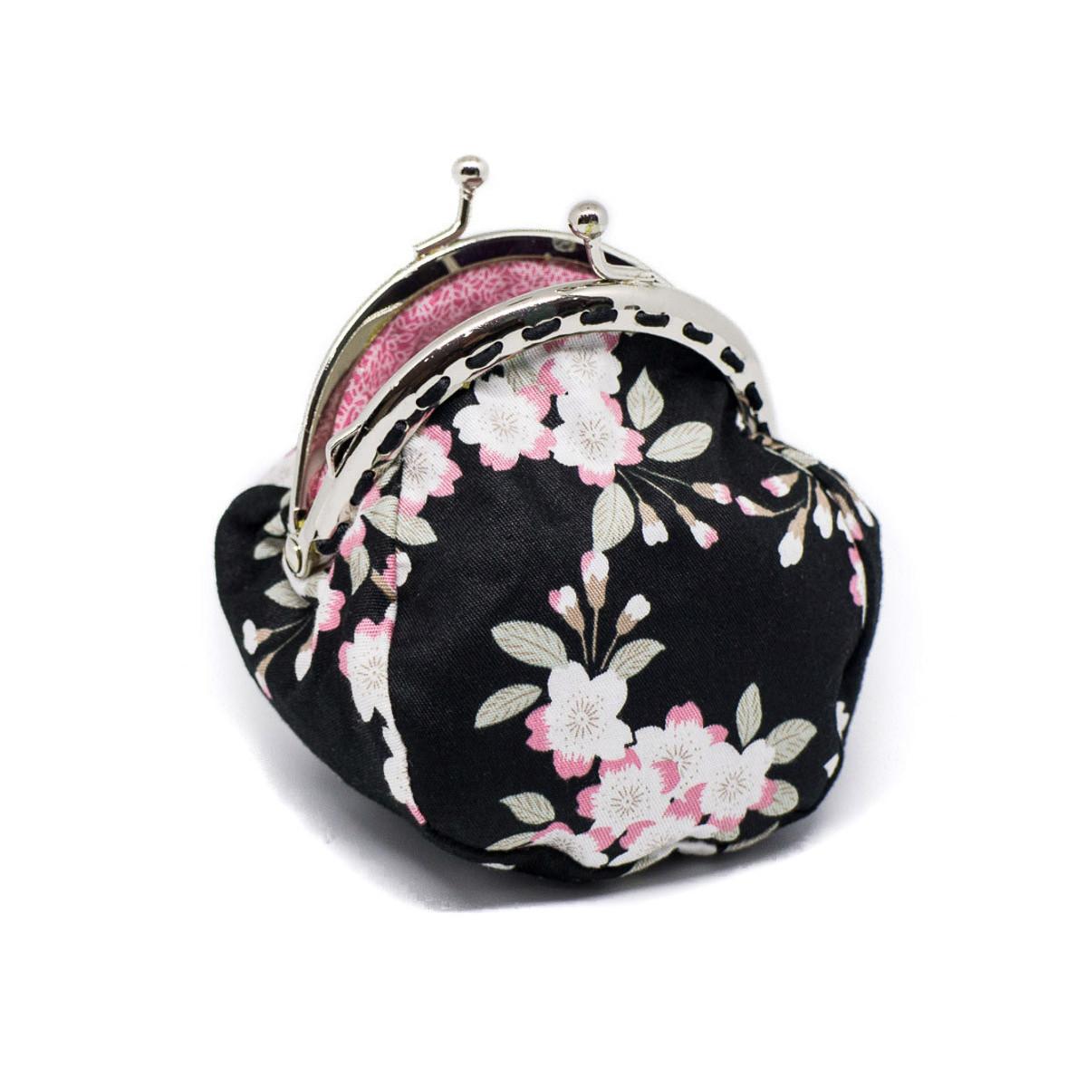 Petit porte-monnaie bourse à clip rétro noir et rose à fleurs