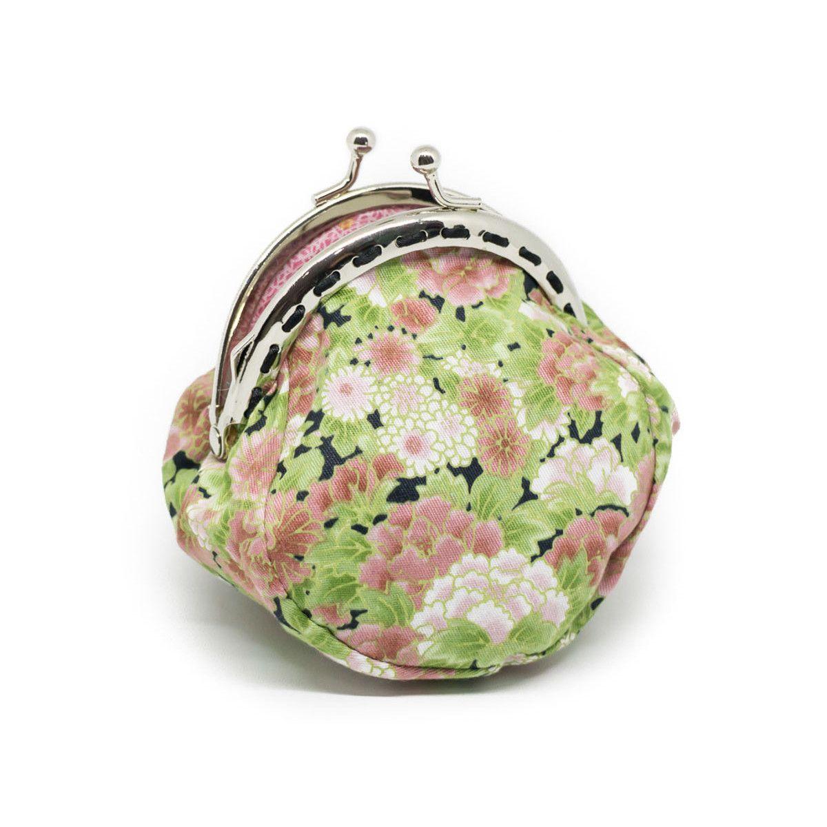 Petit porte-monnaie bourse à clip rétro fleurs rose et vert pomme