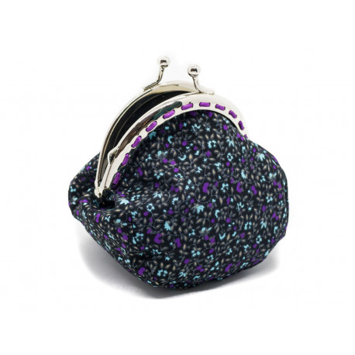 Petit porte-monnaie bourse à clip rétro violet petites fleurs