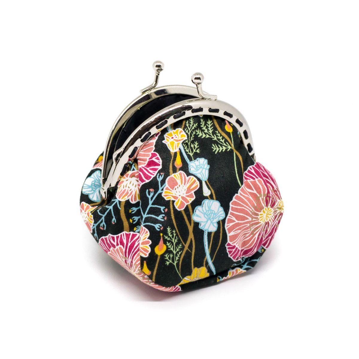 Petit porte-monnaie bourse à clip rétro noir et fleurs