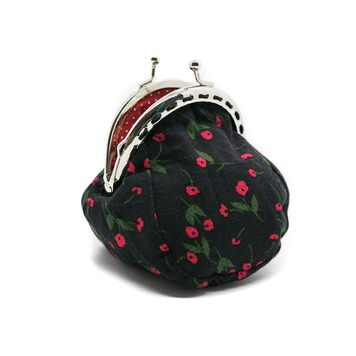 Petit porte-monnaie bourse à clip rétro noir et petites fleurs rouges