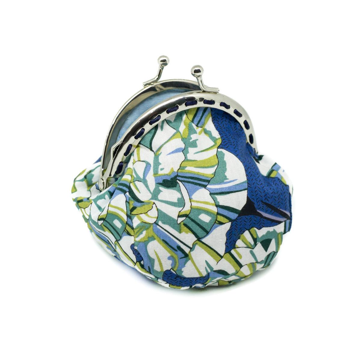 Petit porte-monnaie bourse à clip rétro bleu et fleurs vert olive