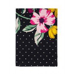 Porte-cartes rigide en coton noir à fleurs colorées