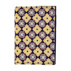 Porte-cartes rigide en coton bleu fonce jaune