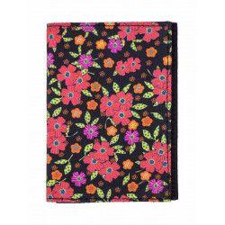 Porte-cartes rigide en coton noir et fleurs rouges orange
