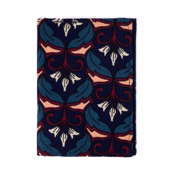 Porte-cartes rigide en coton bleu avec fleurs