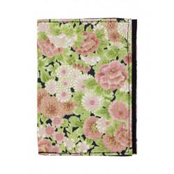Porte-cartes rigide en coton fleurs rose et vert pomme