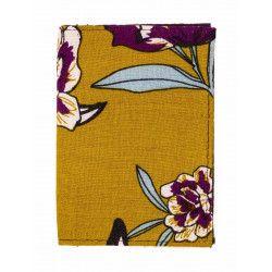 Porte-cartes rigide en coton jaune moutarde et fleurs rose violine