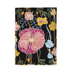 Porte-cartes rigide en coton noir et rouge à fleurs coquelicot