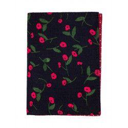 Porte-cartes rigide en coton noir et petites fleurs rouge