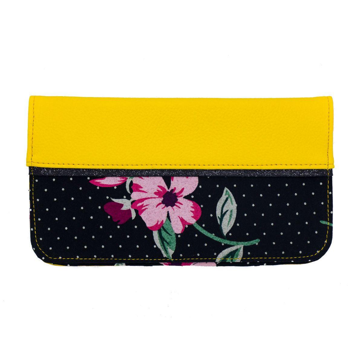 Porte-chéquier noir et fleurs colorées