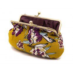 Grand porte-monnaie rétro à clip jaune moutarde et fleurs rose violine
