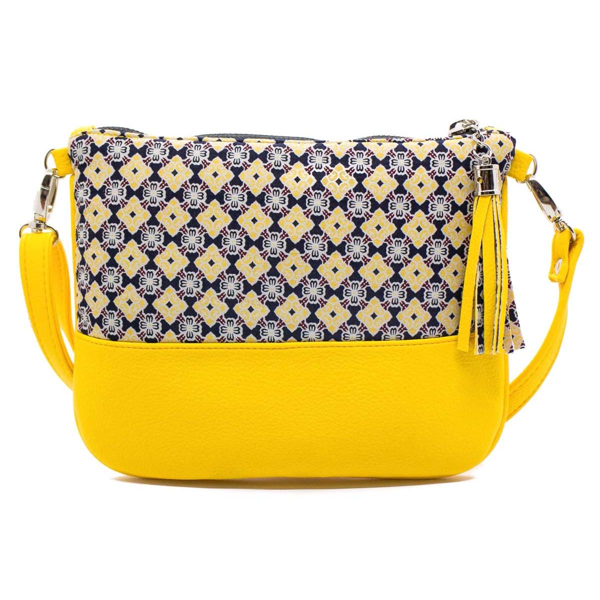 Sac à main pochette femme jaune et bleu