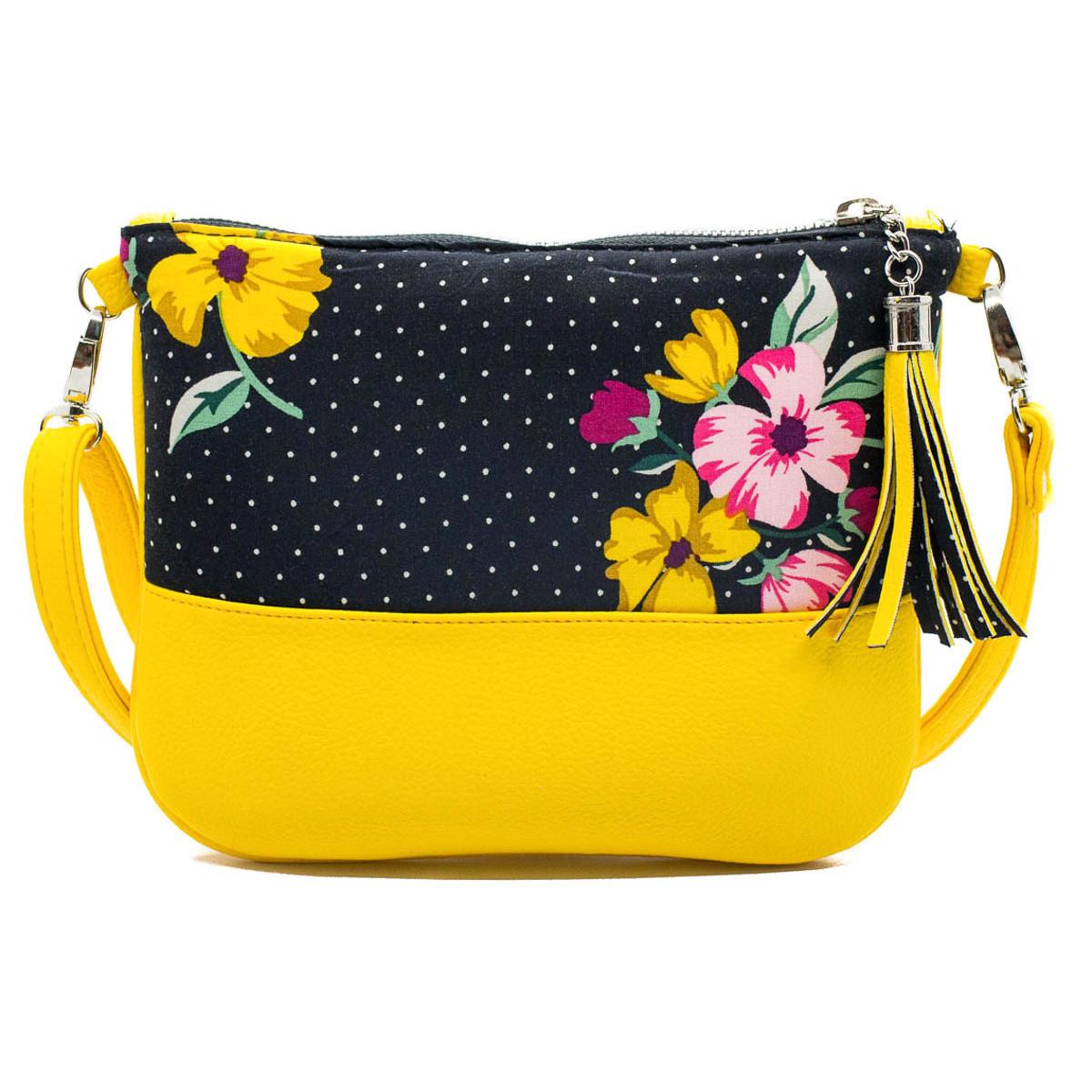 Sac à main pochette femme jaune et noir à fleurs