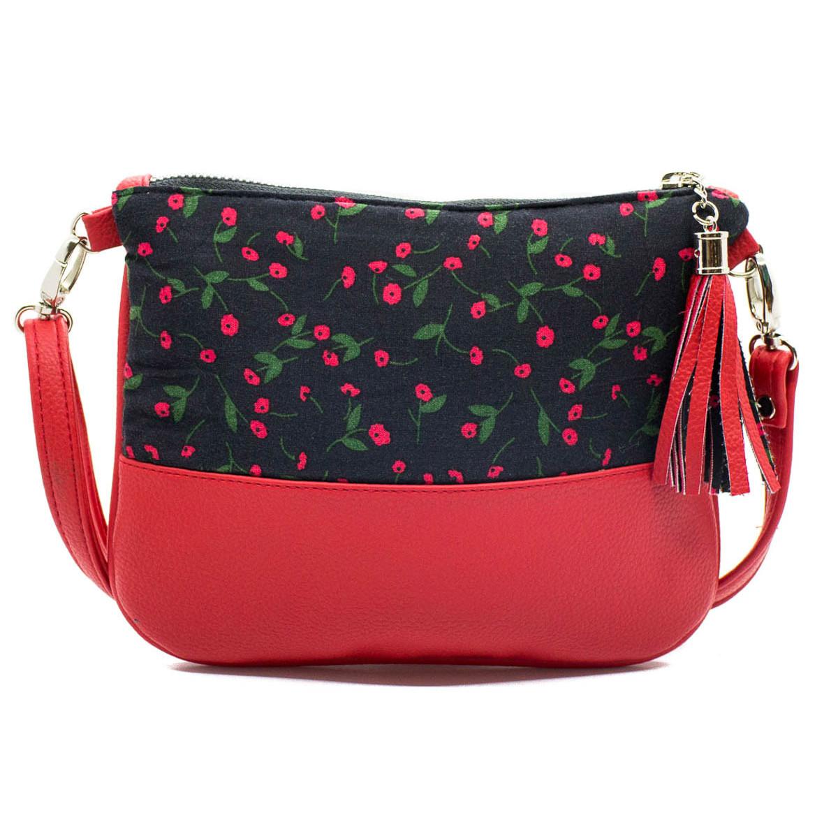 Sac à main pochette femme rouge fraise et noir
