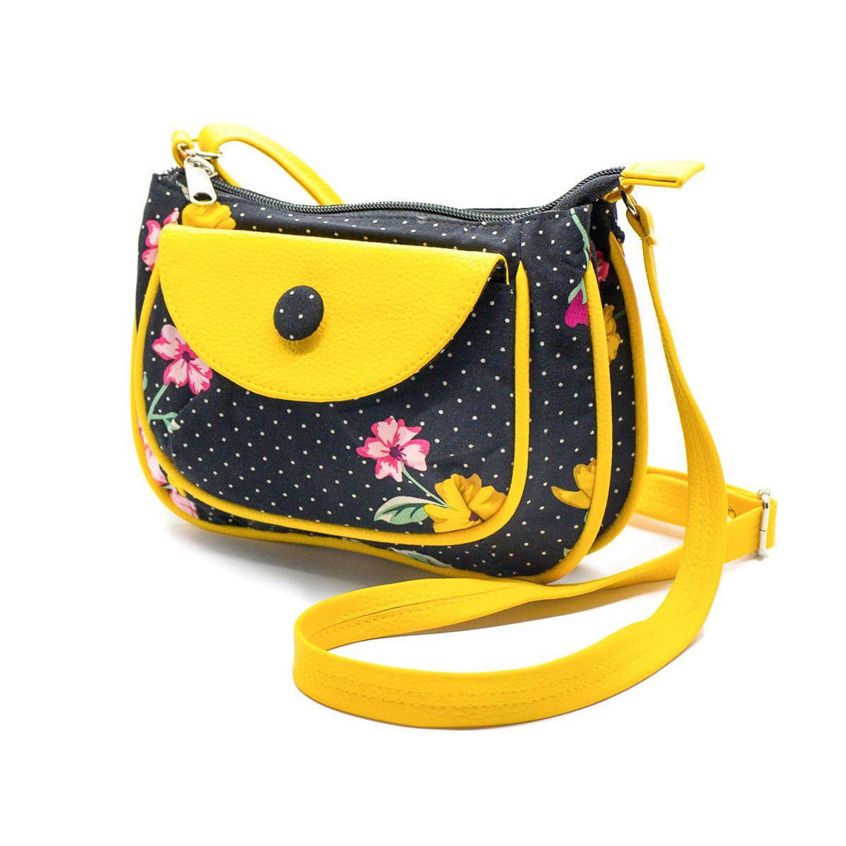 petit sac besace bandoulière tissu original noir et jaune à fleurs