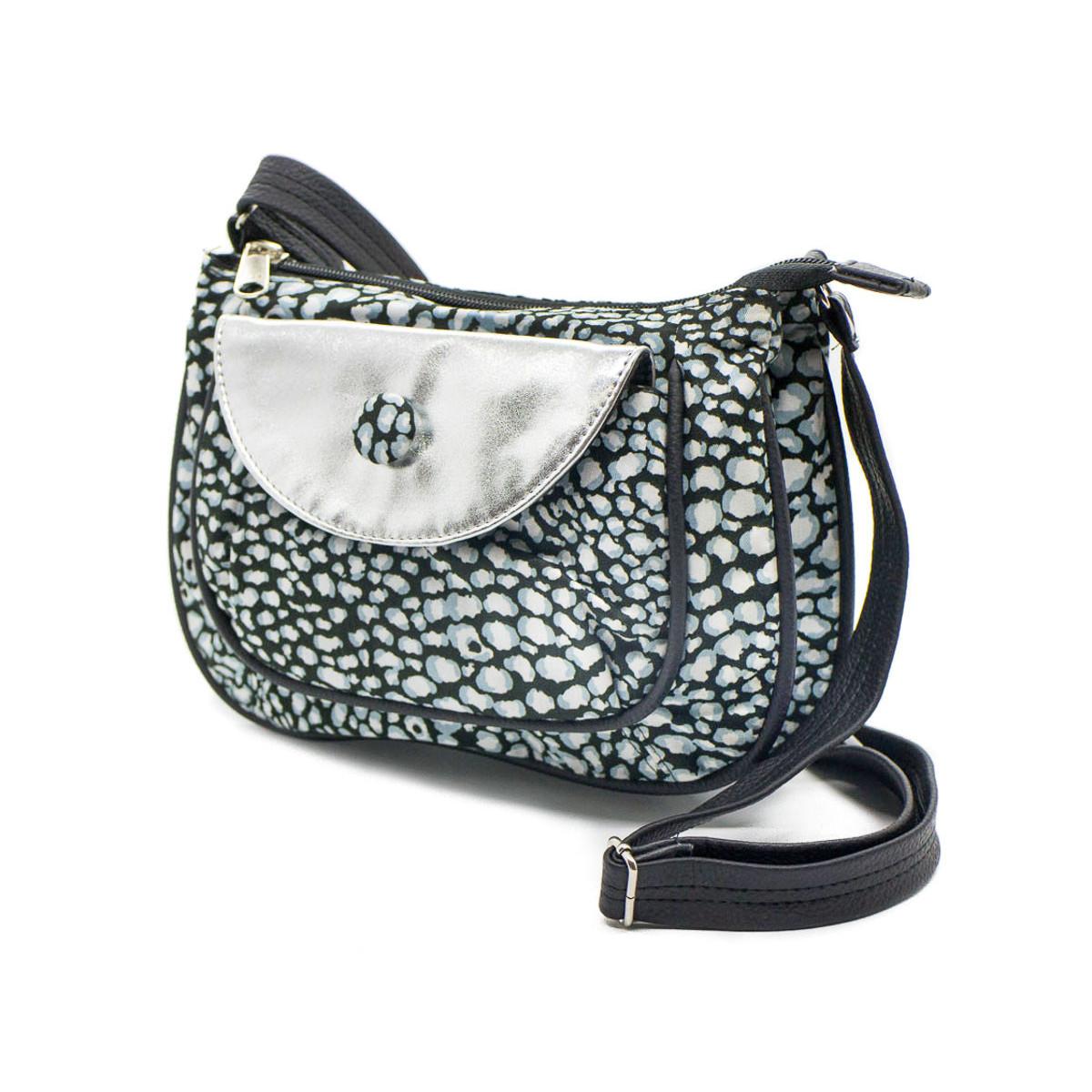 petit sac besace bandoulière tissu original noir gris argent silver