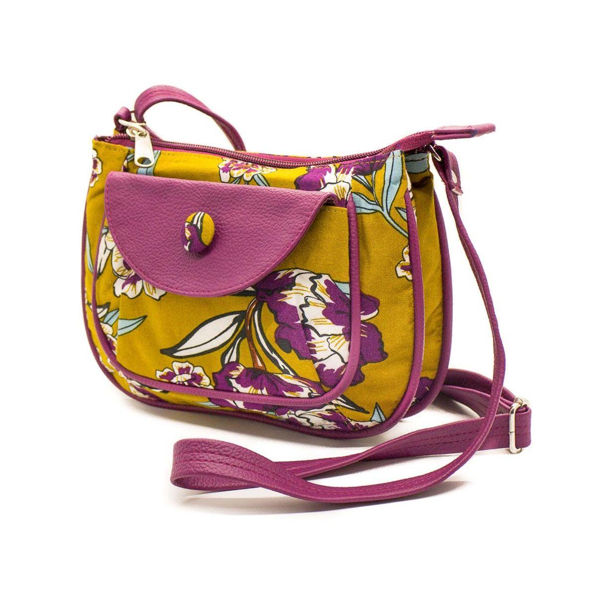 petit sac besace bandoulière tissu original jaune moutarde et fleurs rose violine