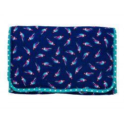 Pochette à barrettes bijoux fille bleu turquoise et perroquets
