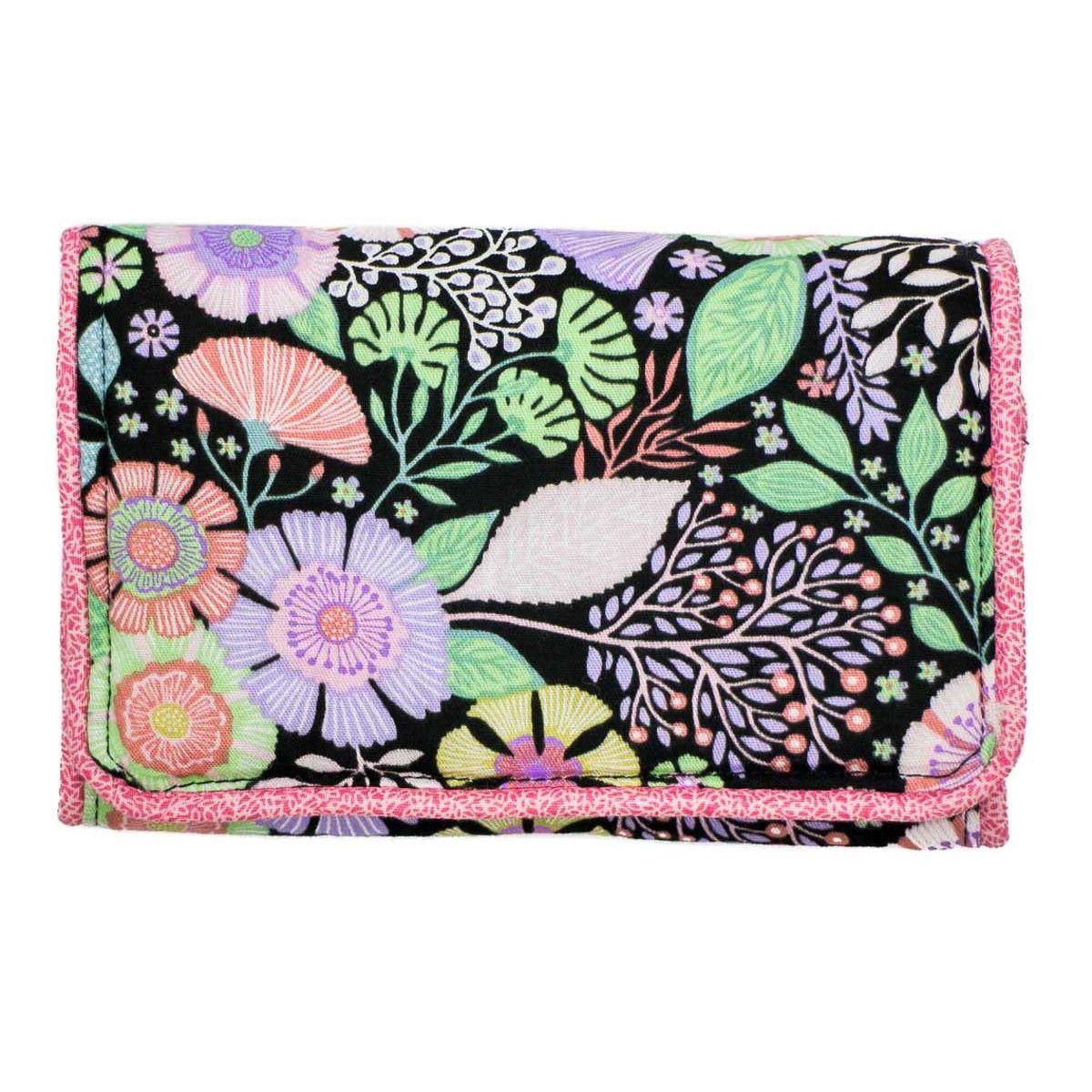 Pochette à barrettes bijoux fille rose noir et fleurs