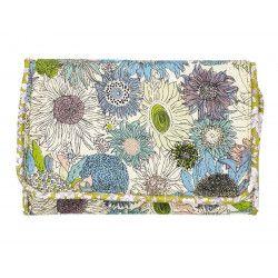 Pochette à barrettes bijoux fille vert olive et fleurs