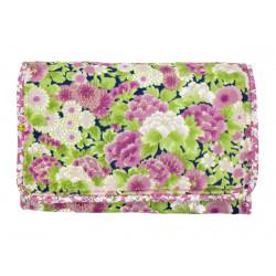 Pochette à barrettes bijoux fille fleurs rose et vert pomme