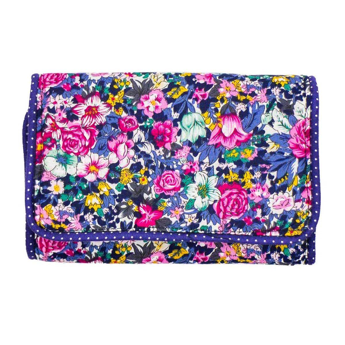 Pochette à barrettes bijoux fille bleu et fleurs colorées