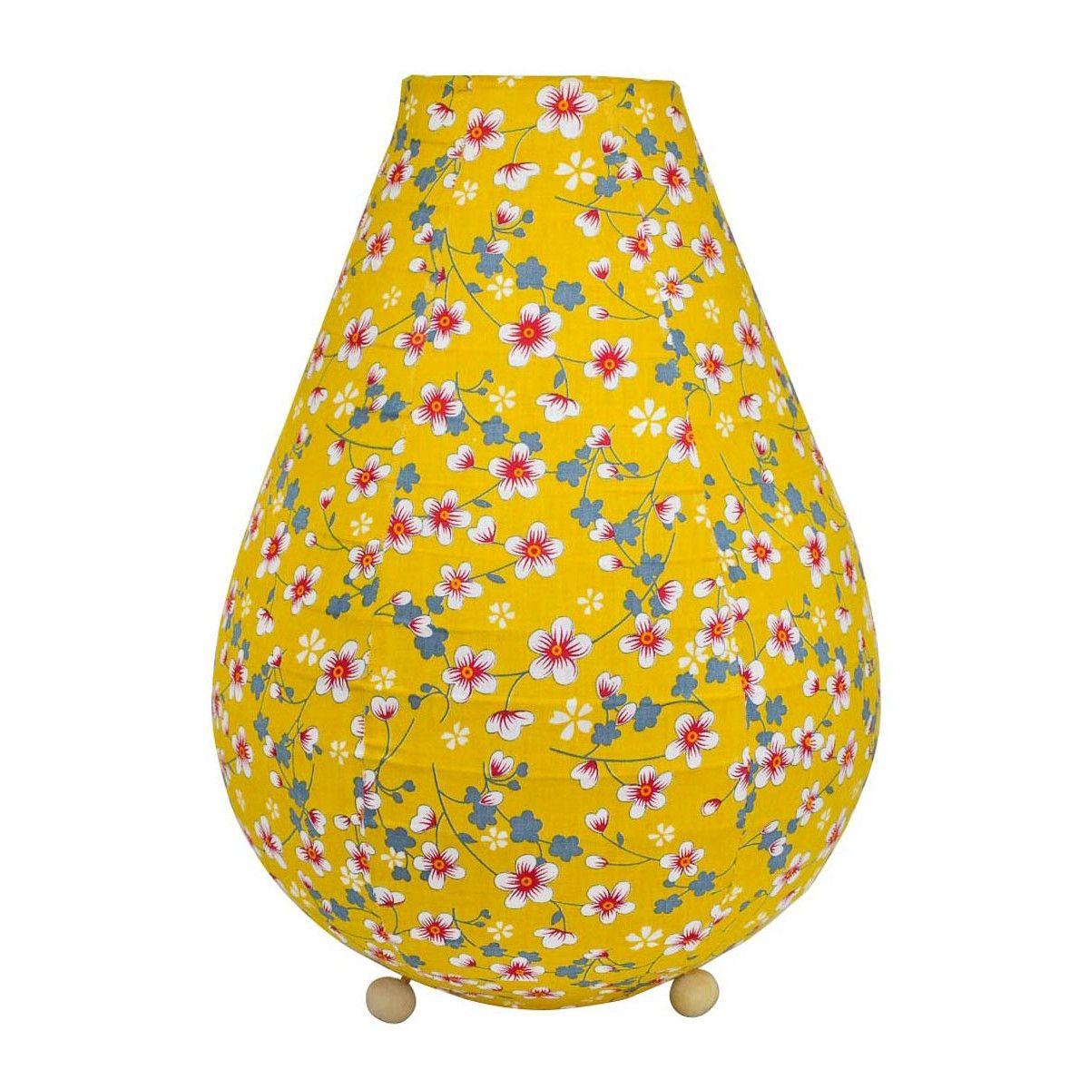 Lampe lampion de chevet tissu jaune moutarde avec fleurs cerisiers