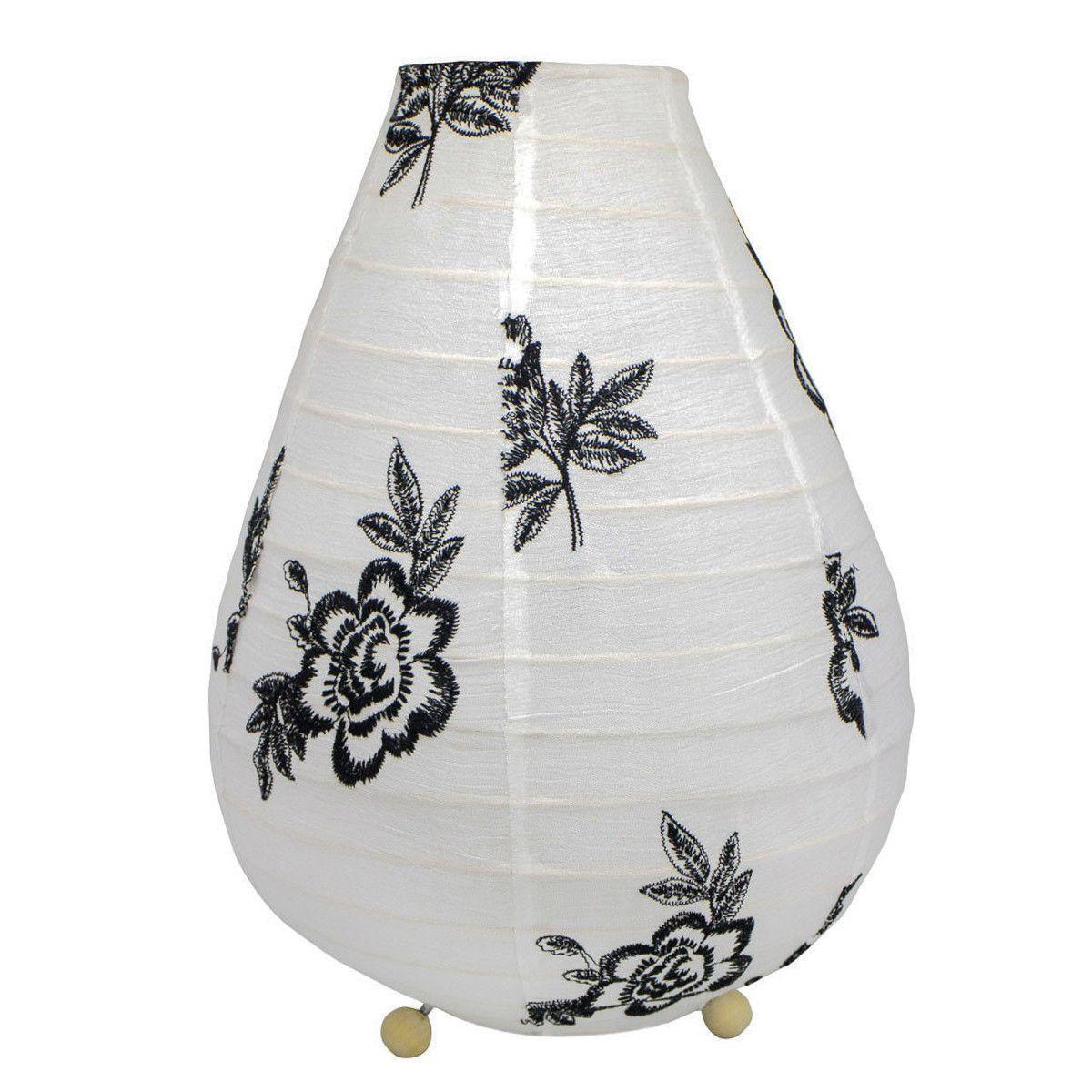 Lampe lampion de chevet tissu blanc et roses noires brodées