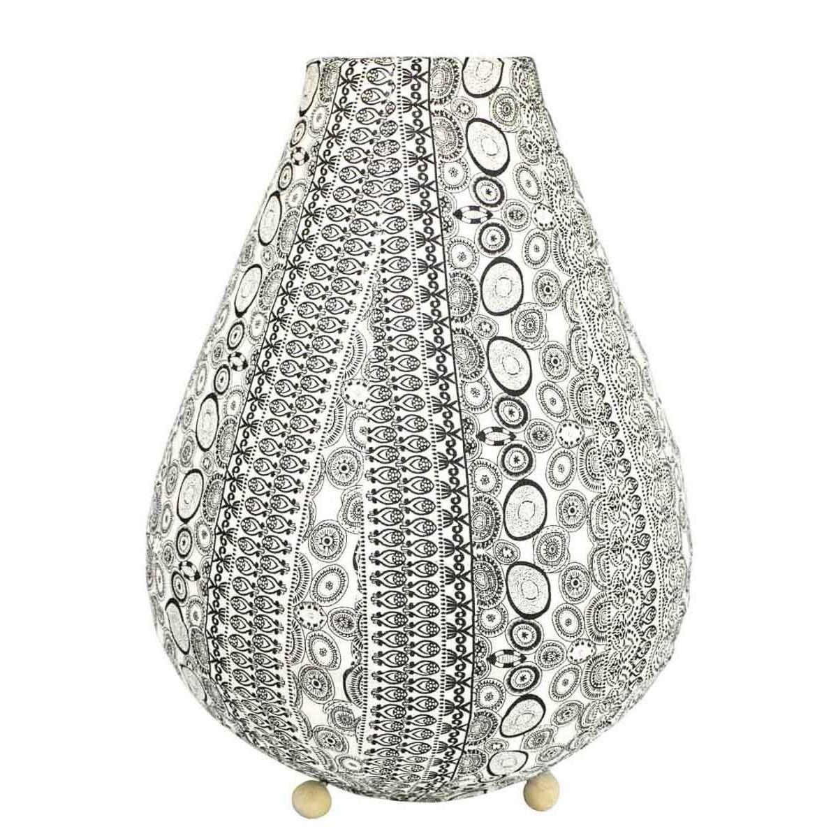 Lampe lampion de chevet tissu noir et blanc