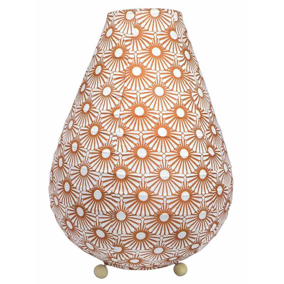 Lampe lampion de chevet tissu cuivre bronze