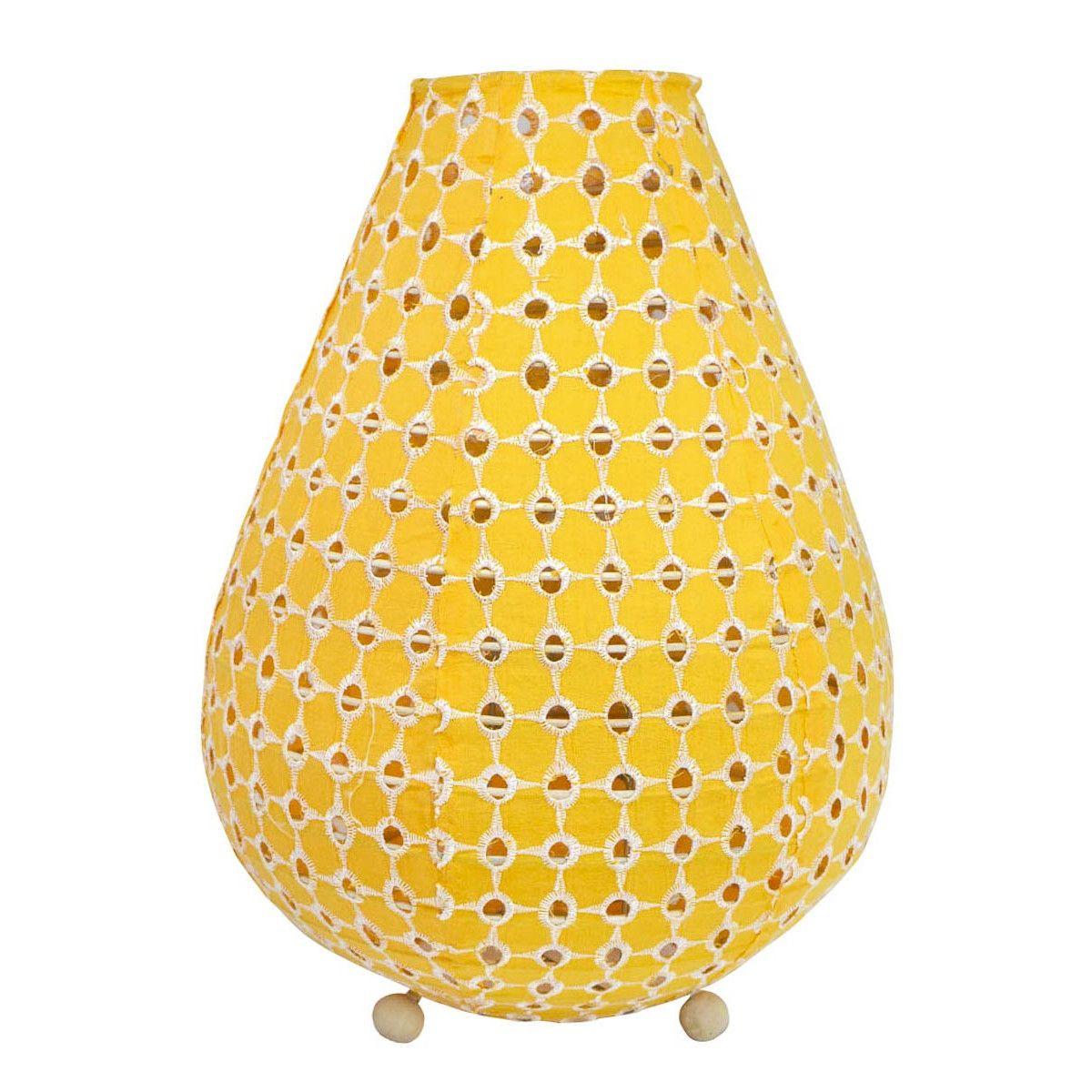 Lampe lampion de chevet tissu jaune brodé ajouré