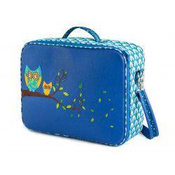 Valise originale de voyage bébé, enfant bleu et hiboux