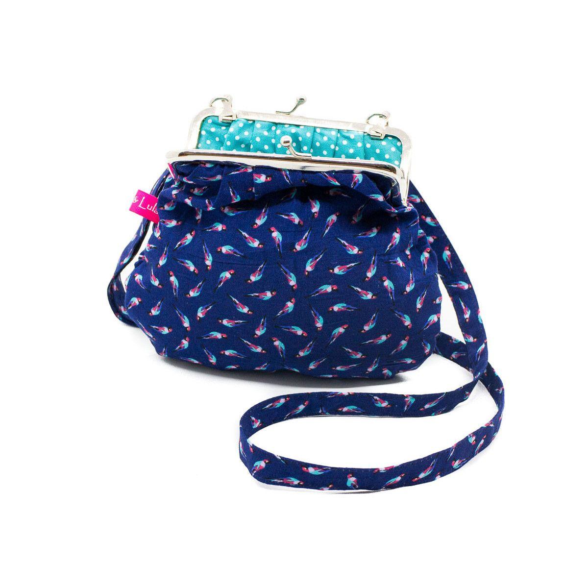 Petit sac rétro à clip coton bleu et perroquet