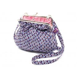 Petit sac rétro à clip coton bleu et petites fleurs