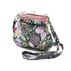 Petit sac rétro à clip coton fleurs colorées