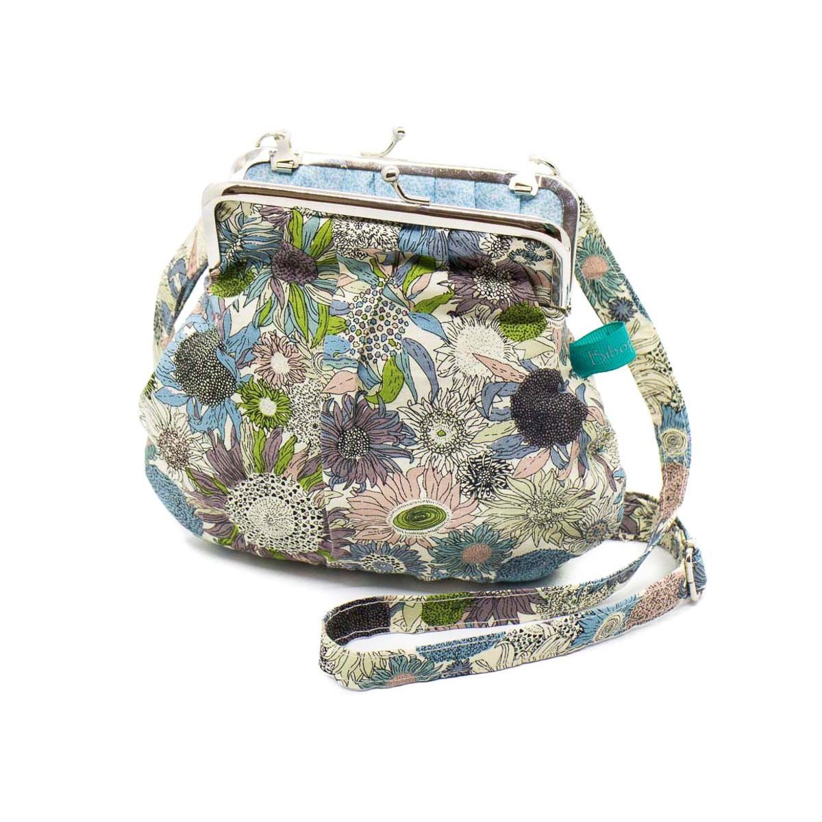 Petit sac rétro à clip coton bleu et vert olive à fleurs