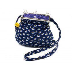 Petit sac rétro à clip coton bleu nuit